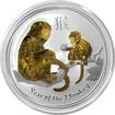 Stříbrná mince pozlacený Year of the Monkey Rok Opice Lunární 1 Oz 2016 Standard