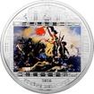 Stříbrná mince 3 Oz Svoboda vede lid na barikády Eugene Delacroix 2013 Krystaly Proof