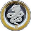 Stříbrná mince pozlacený Year of the Snake Rok Hada High Relief 2013 Proof
