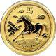 Zlatá investiční mince Year of the Horse Rok Koně Lunární 1/10 Oz 2014