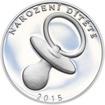 Stříbrný medailon k narození dítěte 2015 - 28 mm