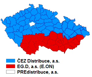Mapa distributorů elektriny