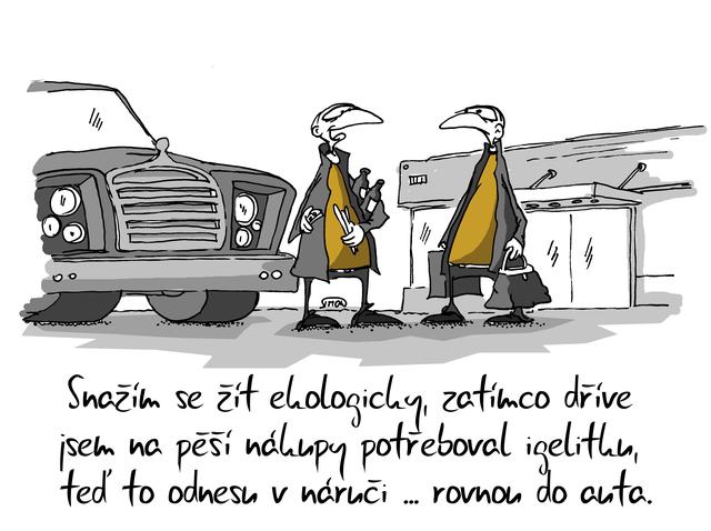 Kreslený vtip: Snažím se žít ekologicky, zatímco dříve jsem na pěší nákupy potřeboval igelitku, teď to odnesu v náručí ... rovnou do auta. Autor: Marek Simon