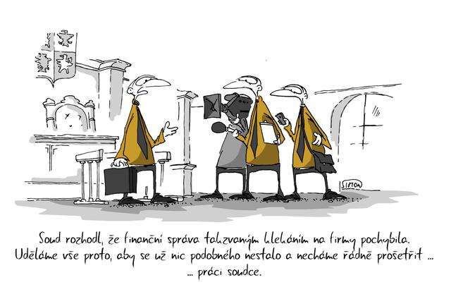 Kreslený vtip: Soud rozhodl, že finanční správa takzvaným klekáním na firmy pochybila. Uděláme vše proto, aby se už nic podobného nestalo a necháme řádně prošetřit ... práci soudce. Autor: Marek Simon