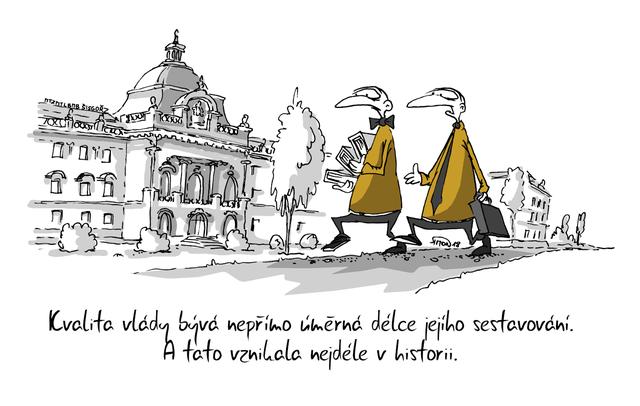 Kreslený vtip: Kvalita vlády bývá nepřímo úměrná délce jejího sestavování. A tato vznikala nejdéle v historii. Autor: Marek Simon