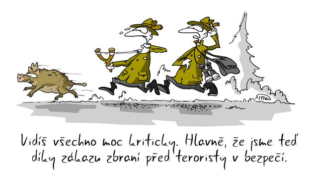 Kreslený vtip: Vidíš všechno moc kriticky. Hlavně, že jsme teď díky zákazu zbraní před teroristy v bezpečí. Autor: Marek Simon
