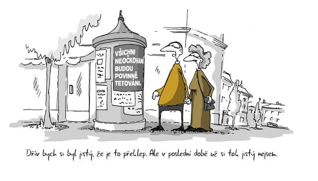 Kreslený vtip: Dřív bych si byl jistý, že je to překlep. Ale v poslední době už si tím tak jistý nejsem. Autor: Marek Simon