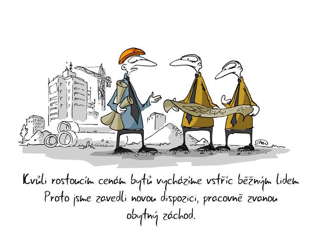 Kreslený vtip: Kvůli rostoucím cenám bytů vycházíme vstříc běžným lidem. Proto jsme zavedli novu dispozici, pracovně zvanou obytný záchod. Autor: Marek Simon