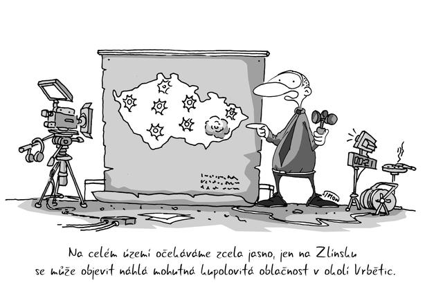 Kreslený vtip: Na celém území očekáváme zcela jasno, jen na Zlínsku se může objevit náhlá mohutná kupolovitá oblačnost v okolí Vrbětic. Autor: Marek Simon