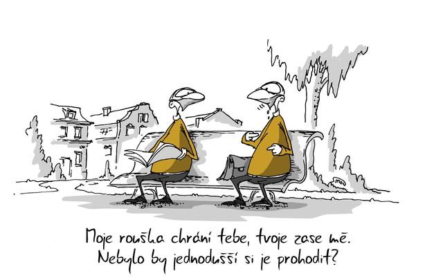 Kreslený vtip: Moje rouška chrání tebe, tvoje zase mě. Nebylo by jednodušší si je prohodit? Autor: Marek Simon