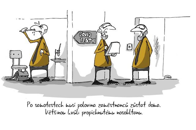 Kreslený vtip: Po samotestech musí polovina zaměstnanců zůstat doma. Většinou kvůli propíchnutému nosohltanu. Autor: Marek Simon