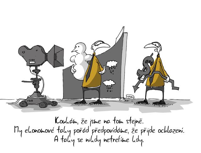 Kreslený vtip: Koukám, že jsme na tom stejně. My ekonomové taky pořád předpovídáme, že přijde ochlazení. A taky se nikdy netrefíme kdy. Autor: Marek Simon
