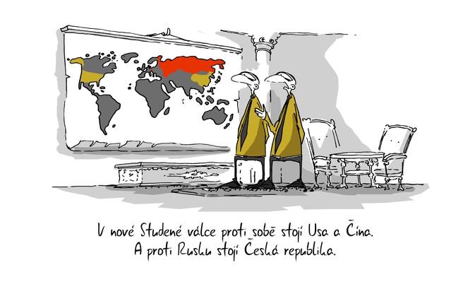 Kreslený vtip: V nové Studené válce proti sobě stojí USA a Čína. A proti Rusku stojí Česká republika. Autor: Marek Simon