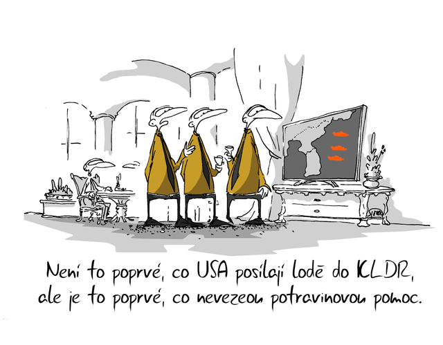 Kreslený vtip: Není to poprvé, co USA posílají lodě do KLDR, ale je to poprvé, co nevezou potravinovou pomoc. Autor: Marek Simon