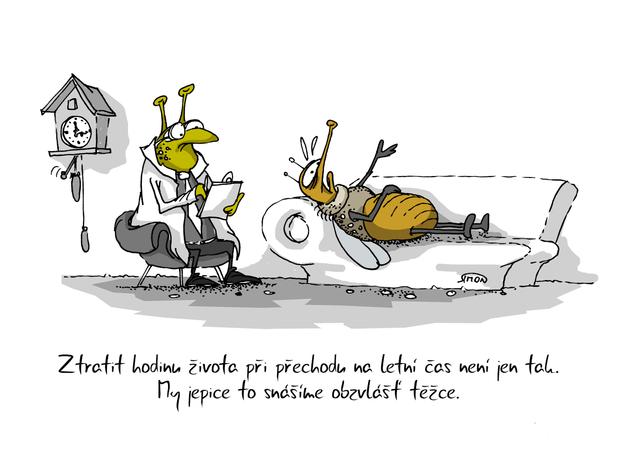 Kreslený vtip: Ztratit hodinu života při přechodu na letní čas není jen tak. My jepice to snášíme obzvlášť těžce. Autor: Marek Simon