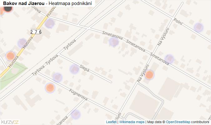Mapa Bakov nad Jizerou - Firmy v obci.