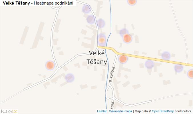 Mapa Velké Těšany - Firmy v části obce.