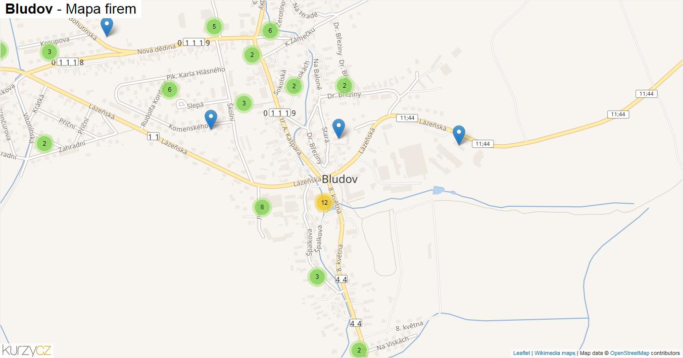 Bludov - mapa firem