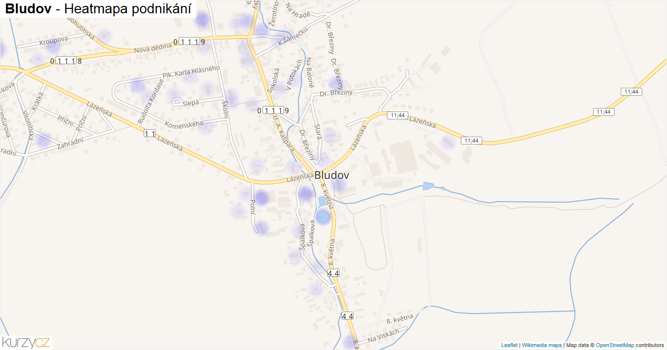 Bludov - mapa podnikání