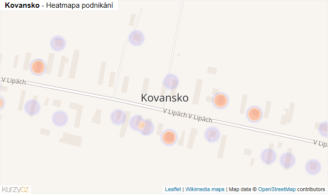 Mapa Kovansko - Firmy v části obce.