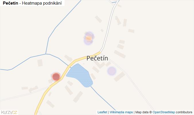 Mapa Pečetín - Firmy v části obce.