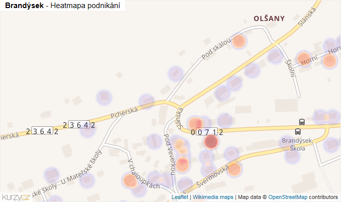 Mapa Brandýsek - Firmy v obci.