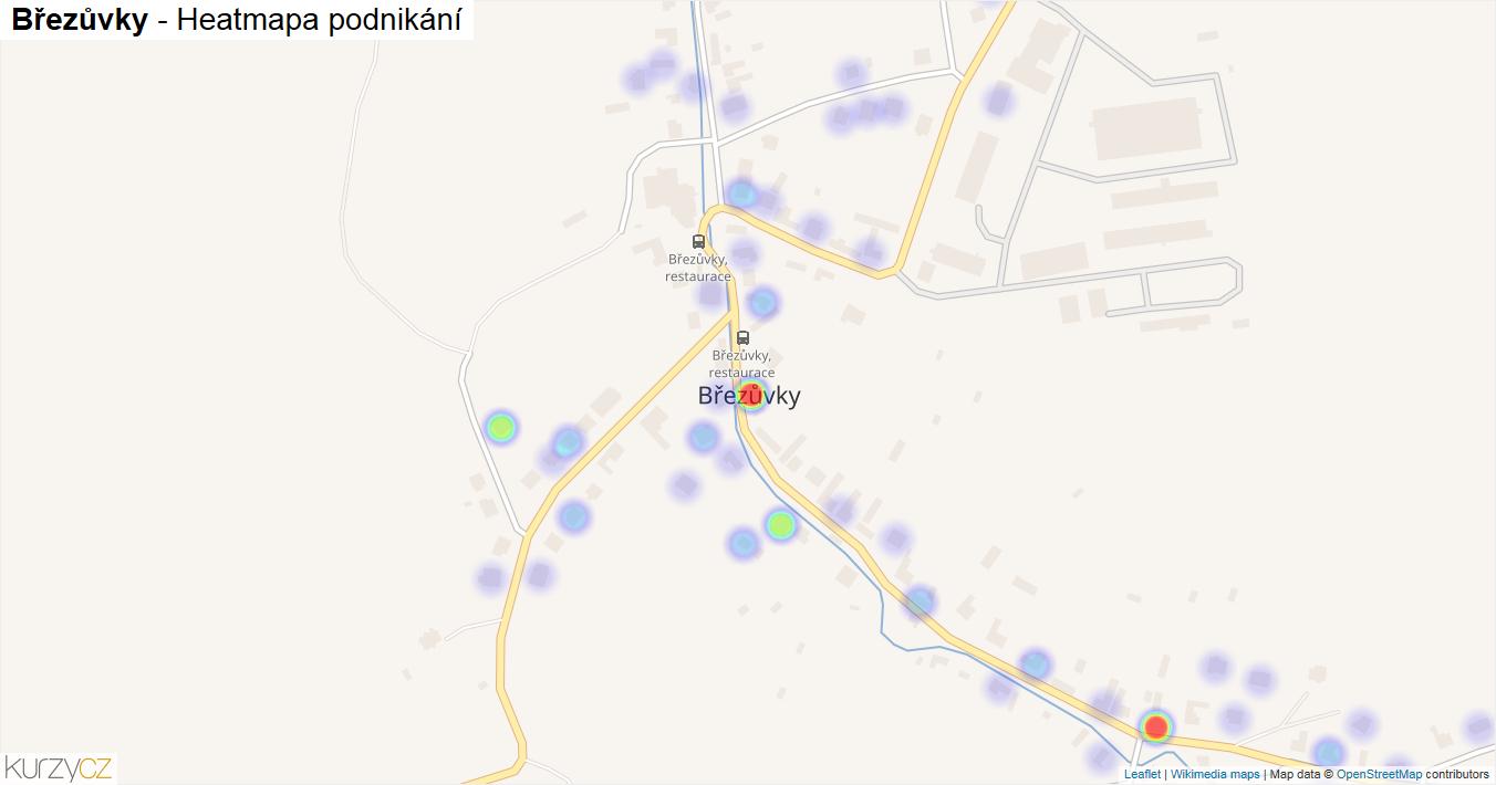 Březůvky - mapa podnikání