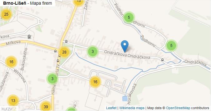 Mapa Brno-Líšeň - Firmy v městské části.