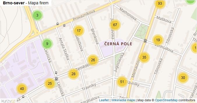 Mapa Brno-sever - Firmy v městské části.