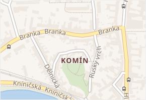 Komín v obci Brno - mapa části obce
