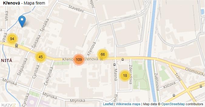 Mapa Křenová - Firmy v ulici.