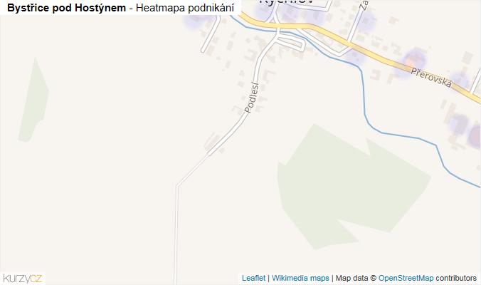 Mapa Bystřice pod Hostýnem - Firmy v obci.