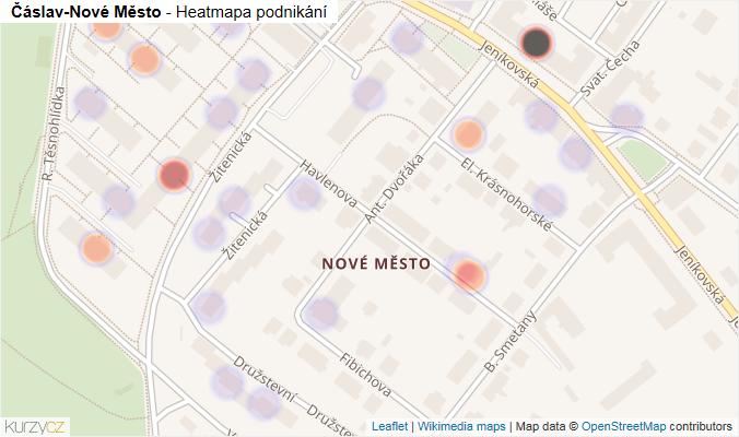 Mapa Čáslav-Nové Město - Firmy v části obce.