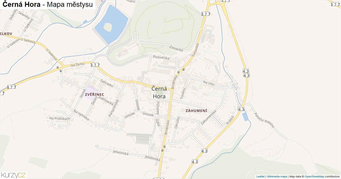 Černá Hora - mapa městysu