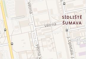 Větrná v obci České Budějovice - mapa ulice