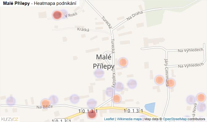 Mapa Malé Přílepy - Firmy v části obce.