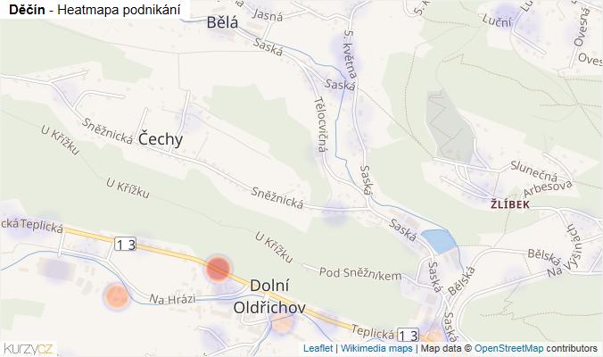 Mapa Děčín - Firmy v obci.