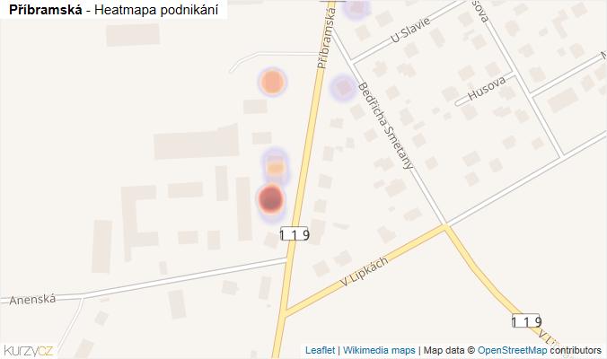 Mapa Příbramská - Firmy v ulici.