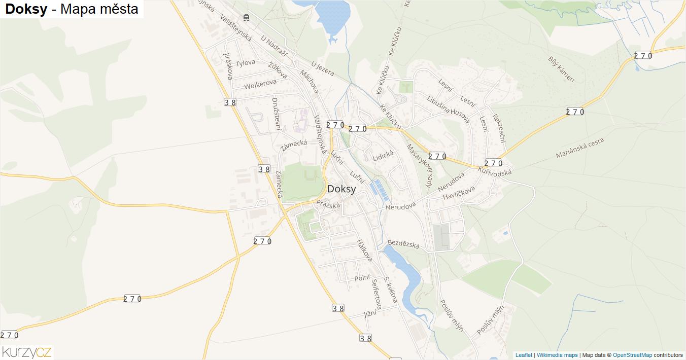 Doksy - mapa města