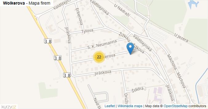 Mapa Wolkerova - Firmy v ulici.