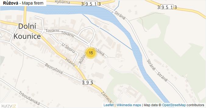 Mapa Růžová - Firmy v ulici.