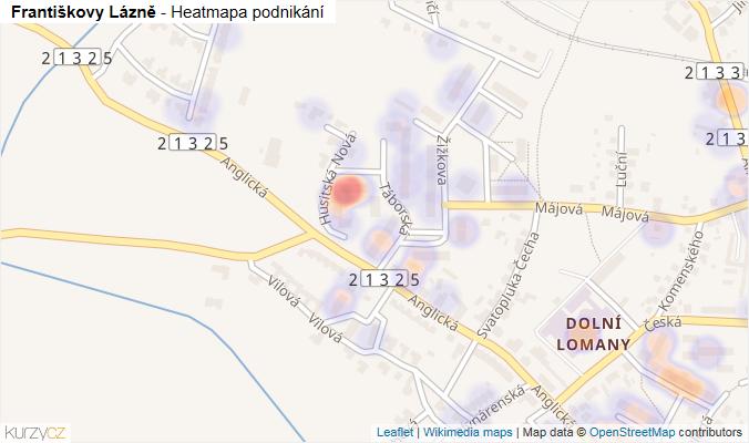 Mapa Františkovy Lázně - Firmy v obci.