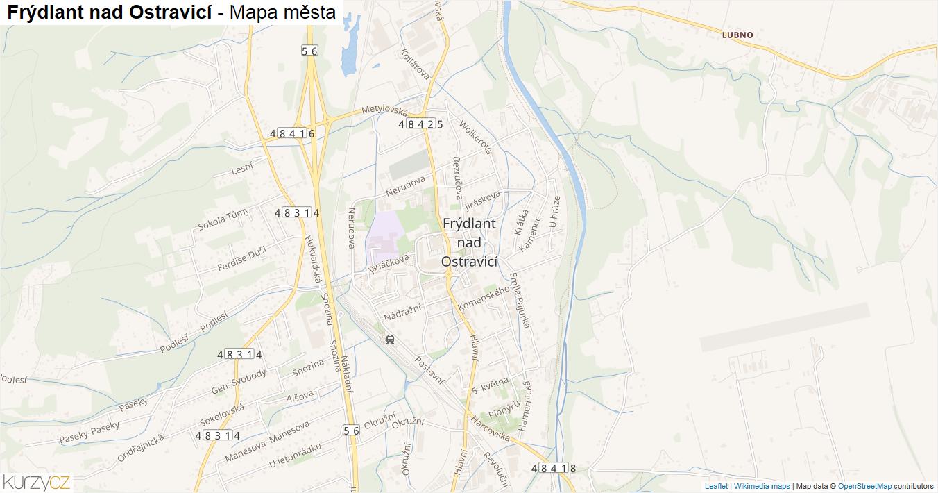 Frýdlant nad Ostravicí - mapa města