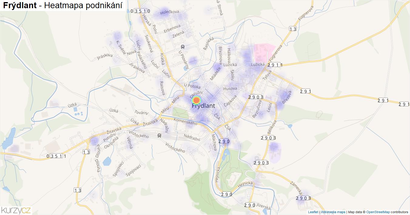 Frýdlant - mapa podnikání