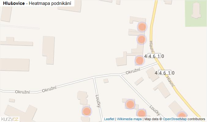 Mapa Hlušovice - Firmy v obci.