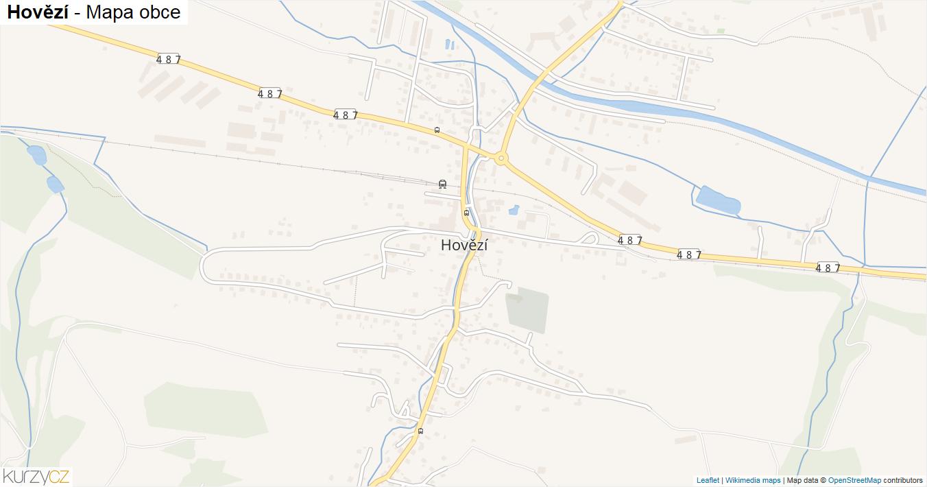 Hovězí - mapa obce