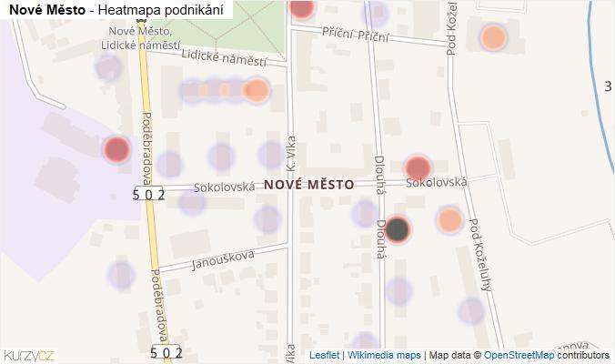 Mapa Nové Město - Firmy v části obce.