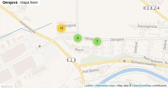 Mapa Okrajová - Firmy v ulici.