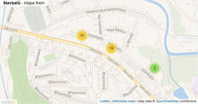Mapa Stavbařů - Firmy v ulici.