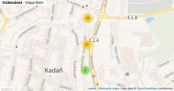 Mapa Koželužská - Firmy v ulici.